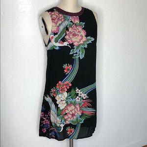 New Japanese Bird black boho mini dress M